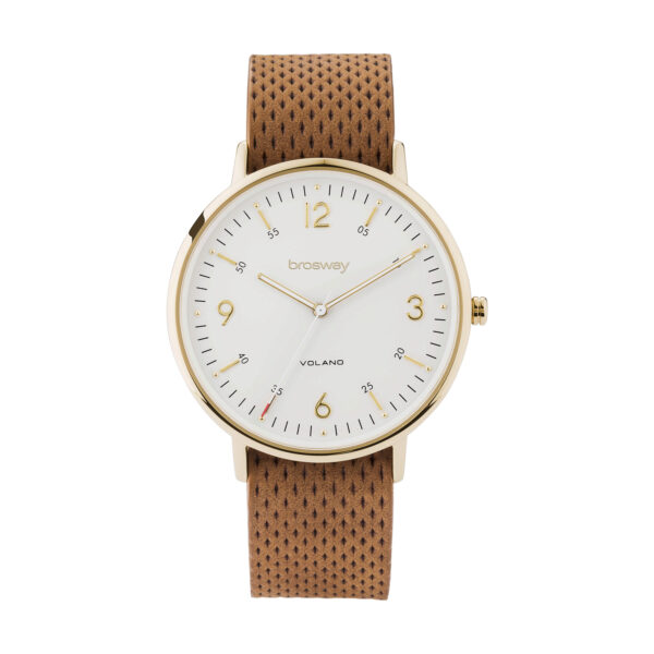 Stainless steel watch with gold pvd, white dial and leather strap