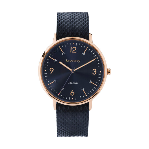 Stainless steel watch with rose gold pvd, blue dial and leather strap
