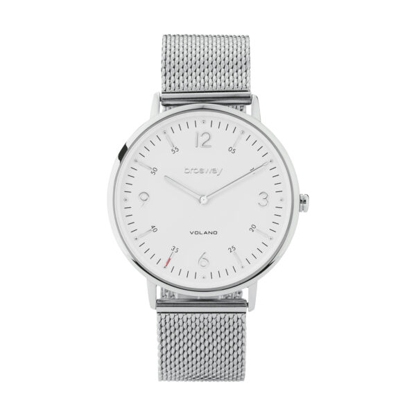 Stainless steel watch with white dial