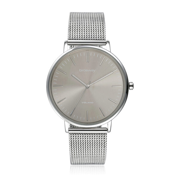 Features: hours, minutes, seconds Movement: japanese quartz movement Case: Ø 42 mm 304 stainless steel, mineral glass and screw-down crown Dial: grey sunray Water resistant: 3 atmospheres Wristband: 304 stainless steel