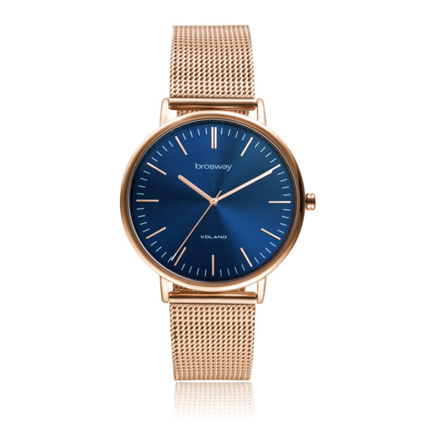 Features: hours, minutes, seconds Movement: japanese quartz movement Case: Ø 42 mm 304 stainless steel, rose gold pvd, mineral glass and screw-down crown Dial: grey sunray Water resistant: 3 atmospheres Wristband: 304 stainless steel and rose gold pvd