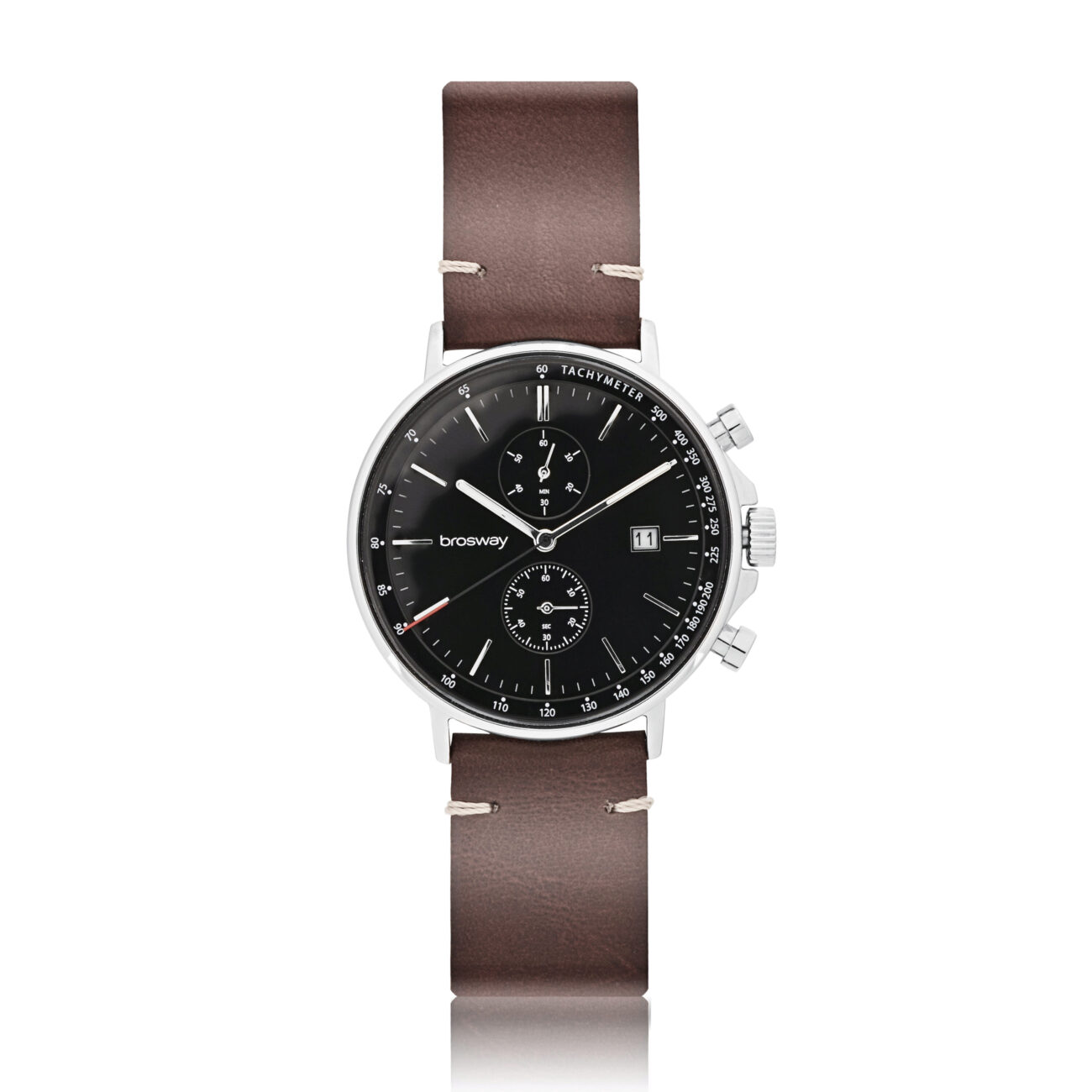 304 stainless steel chrono watch with black dial and brown leather wristband. Case: Ø 42 mm. 304 stainless steel, mineral glass, screw-down crown Function: hours, minutes, seconds, chrono, data Movement: chrono Miyota OS11 Dial: black Water resistant: 3 atmospheres Wristband: brown leather and 304 stainless steel buckle
