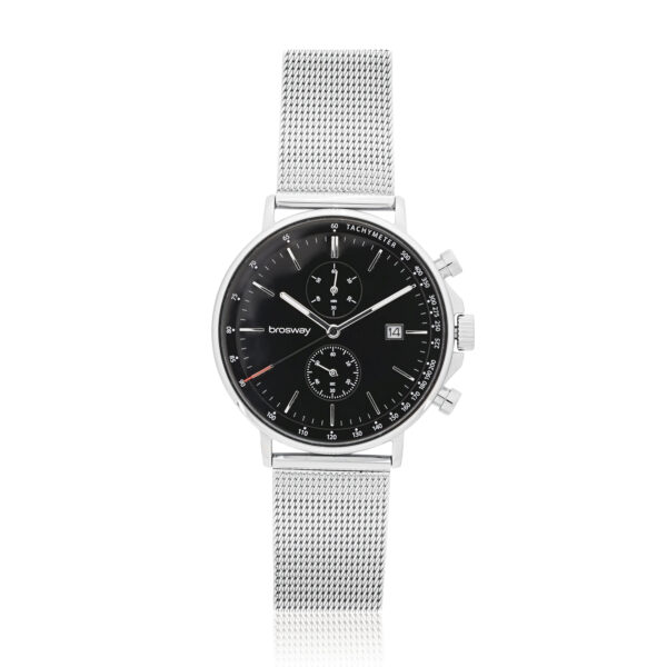 304 stainless steel chrono watch with black dial. Case: Ø 42 mm. 304 stainless steel, mineral glass, screw-down crown Function: hours, minutes, seconds, chrono, data Movement: chrono Miyota OS11 Dial: black Water resistant: 3 atmospheres Wristband: 304 stainless steel