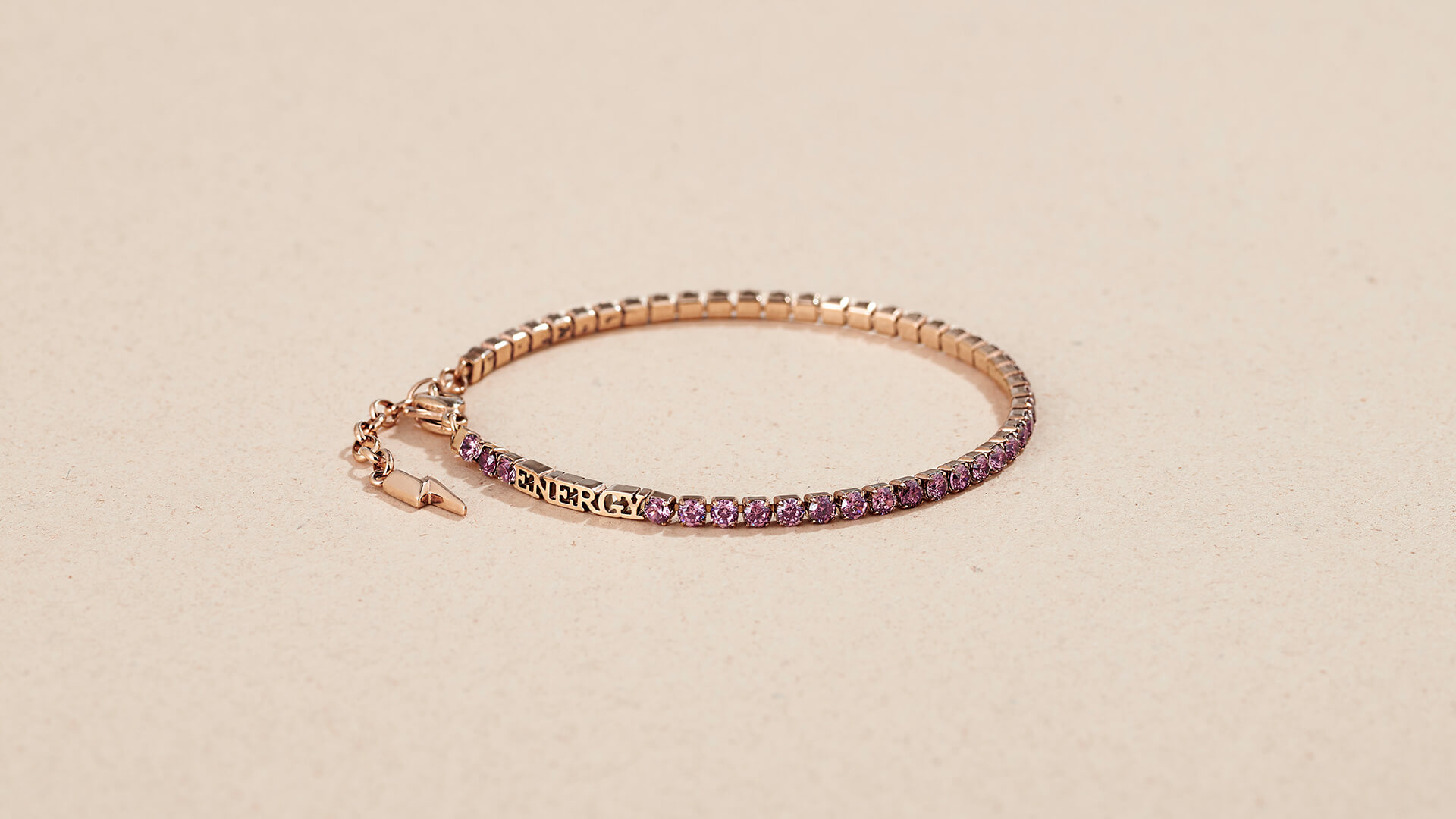 desideri tennis bracelet still life in rose gold